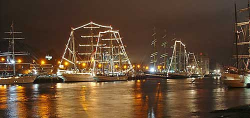 Tall Ships at night